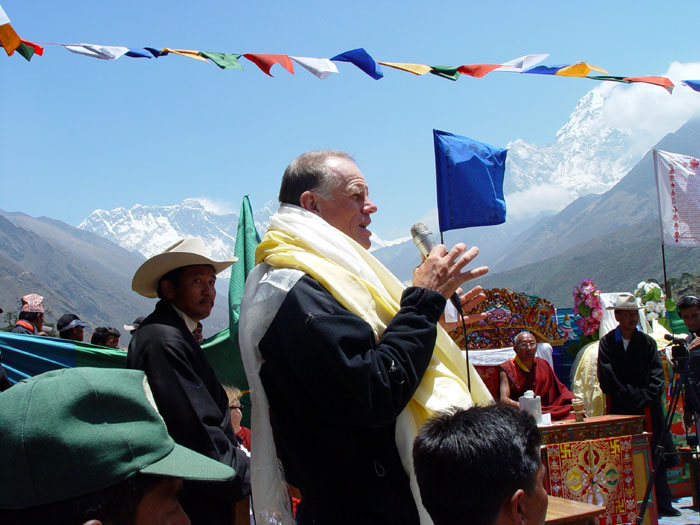 Peter Hillary, son of Sir Edmund and guest of honor at Tengboche, presented the Hillary Medal